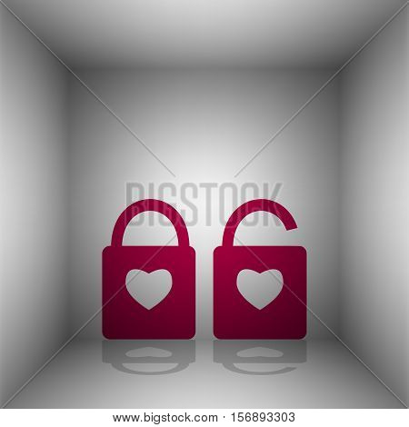 Lock Sign With Heart Shape. A Simple Silhouette Of The Lock. Shape Of A Heart. Bordo Icon With Shado