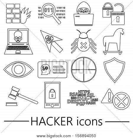 Hacker And Computer Security Theme Outline Icons Set Eps10