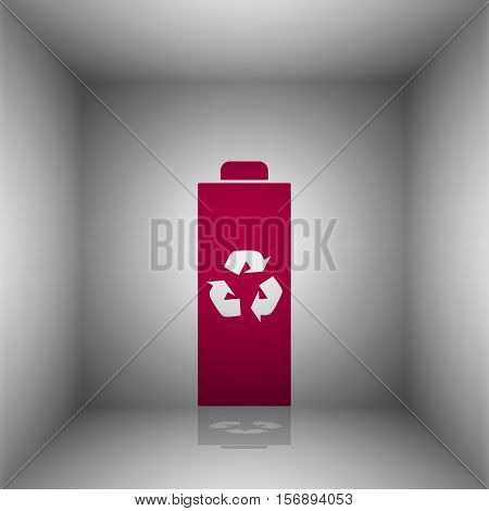 Battery Recycle Sign Illustration. Bordo Icon With Shadow In The Room.