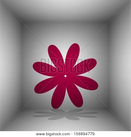 Flower Sign Illustration. Bordo Icon With Shadow In The Room.
