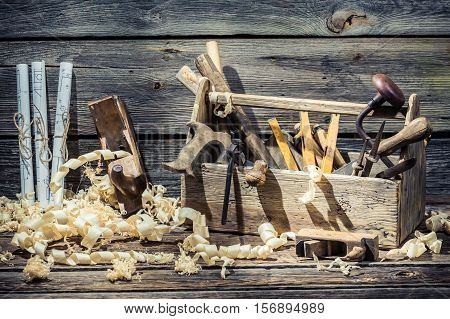 Saw, Hammer And Chisel In The Carpentry Workshop