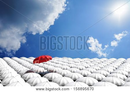 3D Rendering : Illustration Of Red Umbrella Floating Above From The Crowd Of Many White Umbrellas Ag