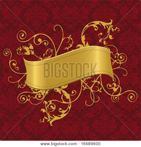Vector illustration of a gold banner with swirls on a baroque wallpaper