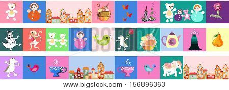 Set of beautiful vector border. Patchwork for children. Bright pattern with toys, cake, castle, monkey, crocodile, dragon, birds, teapot, cups, town, flowers, dress, butterflies and elephant.