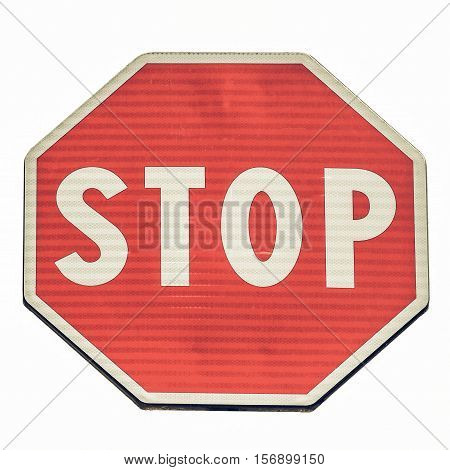 Vintage Looking Stop Sign Isolated