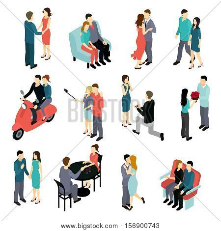 Loving couples isometric set with young men and women in various private situations isolated vector illustration
