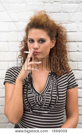 Smoking Brunette