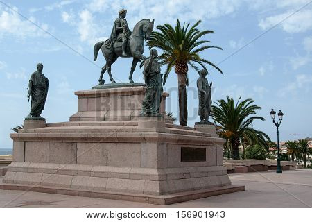 AJACCIO, CORSICA, FRANCE, AUGUST 30, 2016: The equestrian statue of Napoleon surrounded by his four brothers in Roman garb located in Place de Gaulle