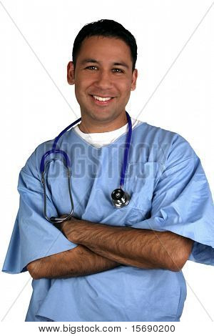 Hispanic medical worker, isolated on white