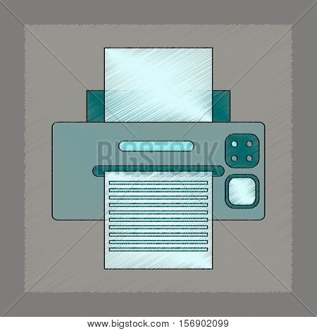 flat shading style icon of computer Printer