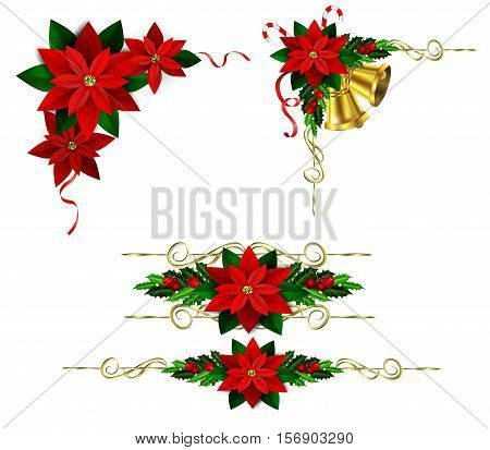 Christmas decoration set with evergreen treess holly and poinsettia isolated