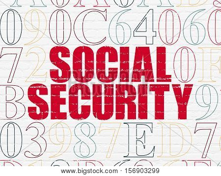 Protection concept: Painted red text Social Security on White Brick wall background with Hexadecimal Code