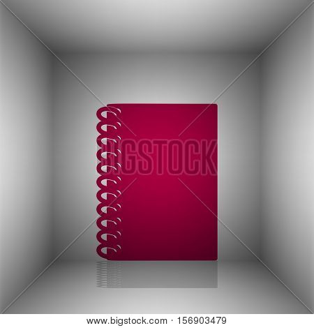 Notebook Simple Sign. Bordo Icon With Shadow In The Room.