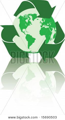 Vector image of a recycle symbol surrounding the earth