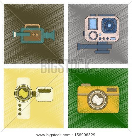 assembly flat shading style icon of multimedia technology camcorder photo camera