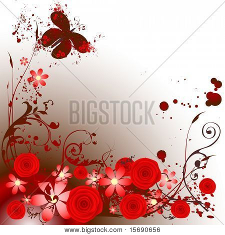 Grunge butterfly and roses image