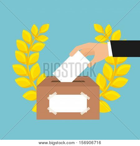 human hand with election paper and carton box with decorative leaves wreath over blue background. vector illustration