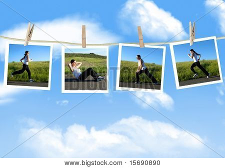 Photos of a woman exercising on a clothes line
