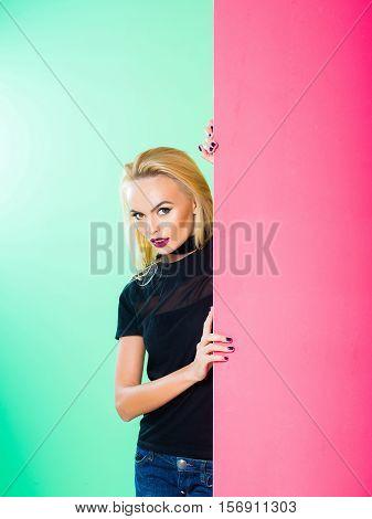 Pretty Girl In Colorful Studio