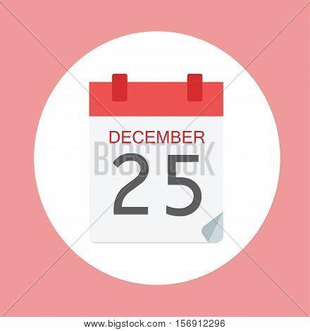 Colorful Calendar Icon Sign - Calendar 25 December For Logo, Banners, Templates, Internet Web Sites - Flat Vector Illustration Stock EPS