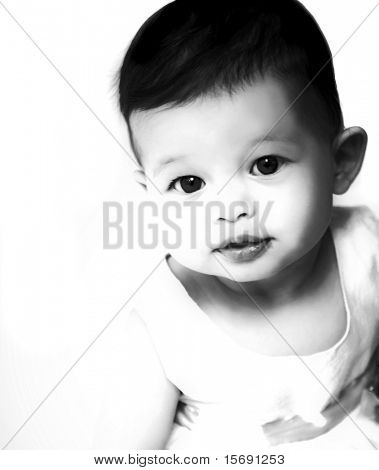 Artistic black and white image of a beautiful baby