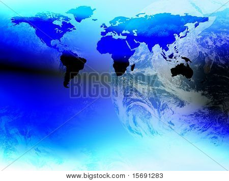 World and continent corporate business background