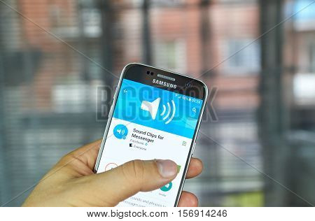 MONTREAL CANADA - JUNE 24 2016 : Sound Clips for Messenger can send pre-recorded sounds and phrases to make Facebook messages come to life.