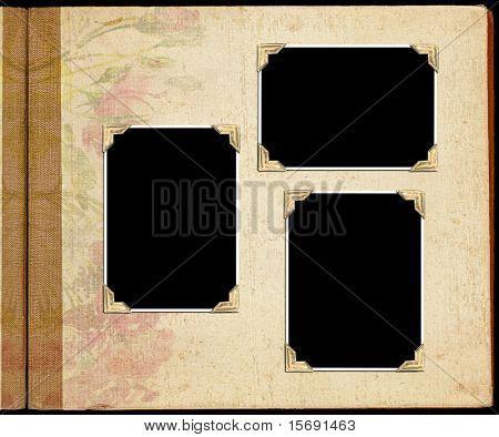 Álbum de fotos antiguas con soportes de fotografías en blanco