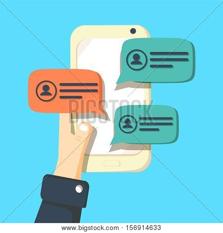 Mobile phone chat message notifications vector illustration isolated on color background, hand with smartphone and chatting bubble speeches, concept of online talking, speak, conversation, dialog