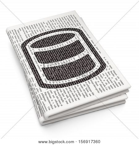 Database concept: Pixelated black Database icon on Newspaper background, 3D rendering