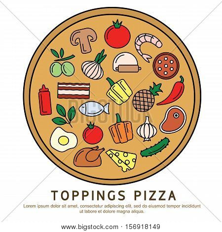 Set icons of pizza ingredients isolated on white. Pizza ingredients is vector illustration. Vector clip art of pizza toppings. Pizza ingredients outline icon collection