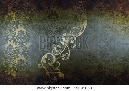 Elegant victorian design on textured old grungy paper
