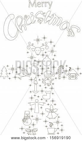 Typography banner with stylized black gingerbread and hand drawing lettering Merry Christmas on white, stock vector illustration