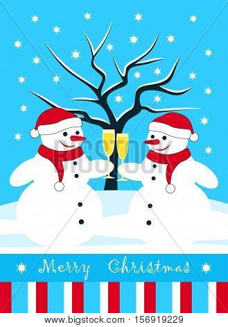 vector christmas card with pair of snowmen with glasses of champagne