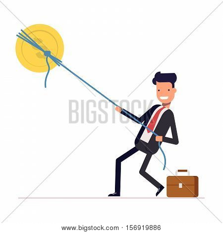 Businessman or manager pulling rope tied to a coin. Money from the sky. Successful people in business suit. Vector, illustration EPS10.