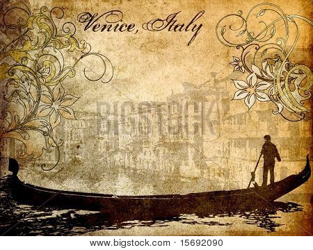 Grungy background image of Venice, Italy