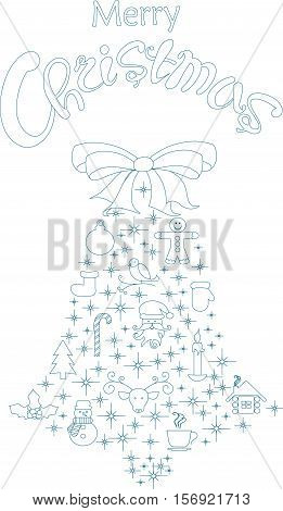 Typography banner with stylized blue bell and hand drawing lettering Merry Christmas on white, stock vector illustration