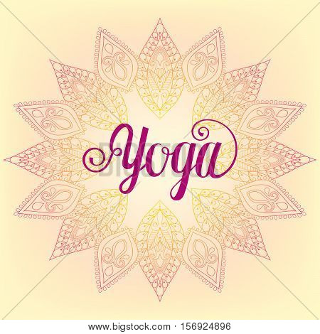 Vector zentangle Yoga design, hand drawn template, emblem with leaves and flowers for invitation, yoga gym classes illustration, meditation and buddism, beauty and spa holistic centers.