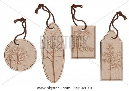 A collection of different shaped tags with twine and tree imprinted