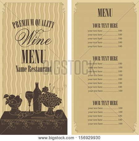 wine menu list with a still life with a glass of wine and a bowl of grapes