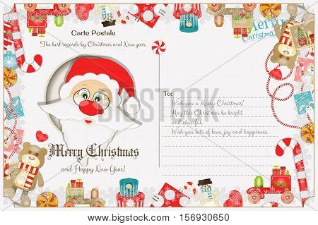 Xmas Postcard with Christmas and New Years Greeting. Backdrop of PostCard with Postage Stamps for Winter Holiday. Santa Claus. Vector Illustration.