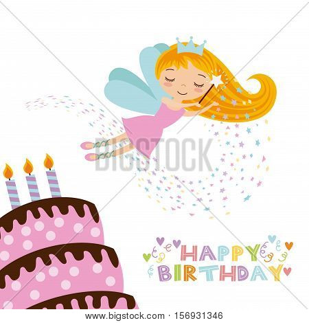 happy birthday card with cute fairy girl and cake with candles icon over white background. colorful design. vector illustration
