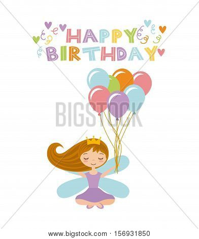 happy birthday card with cute fairy girl with balloons icon over white background. colorful design. vector illustration