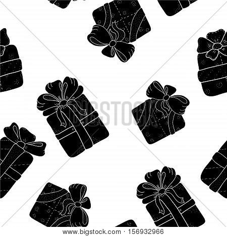 Hand drawn seamless pattern with outline gifts with bows in cartoon style. Doodle thin line gift box texture with different bows. Gift wrap package. Doodle gift box wallpaper on white background.