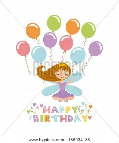 happy birthday card with cute fairy girl and balloons icon over white background. colorful design. vector illustration