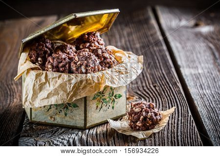 Sweet Chocolate Balls With Corn Flakes And Milk