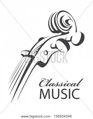 Abstract monochrome icon of violin with text. Vector illustration