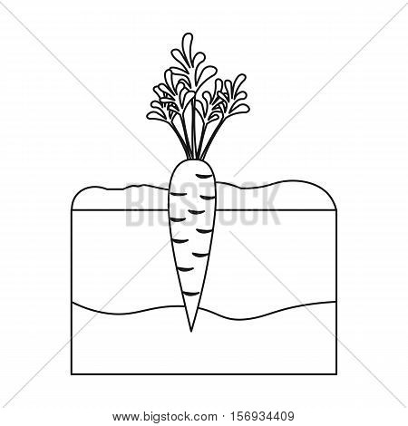Carrot icon in outline style isolated on white background. Plant symbol vector illustration.