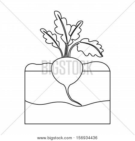 Beet icon in outline style isolated on white background. Plant symbol vector illustration.