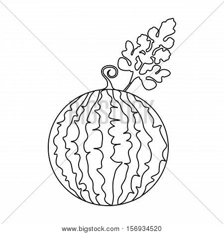 Watermelon icon in outline style isolated on white background. Plant symbol vector illustration.